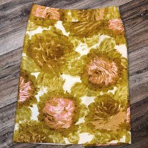 Talbots Jaquard Floral Pencil Skirt